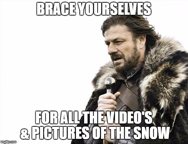 Brace Yourselves X is Coming Meme | BRACE YOURSELVES FOR ALL THE VIDEO'S & PICTURES OF THE SNOW | image tagged in memes,brace yourselves x is coming | made w/ Imgflip meme maker