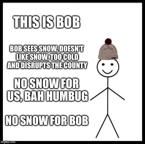Be Like Bill Meme | THIS IS BOB BOB SEES SNOW, DOESN'T LIKE SNOW, TOO COLD AND DISRUPTS THE COUNTY NO SNOW FOR US, BAH HUMBUG NO SNOW FOR BOB | image tagged in memes,be like bill | made w/ Imgflip meme maker