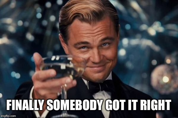 Leonardo Dicaprio Cheers Meme | FINALLY SOMEBODY GOT IT RIGHT | image tagged in memes,leonardo dicaprio cheers | made w/ Imgflip meme maker