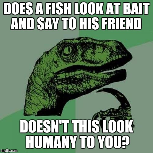 Philosoraptor Meme | DOES A FISH LOOK AT BAIT AND SAY TO HIS FRIEND DOESN'T THIS LOOK HUMANY TO YOU? | image tagged in memes,philosoraptor | made w/ Imgflip meme maker