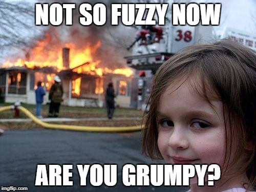 Disaster Girl Meme | NOT SO FUZZY NOW ARE YOU GRUMPY? | image tagged in memes,disaster girl | made w/ Imgflip meme maker