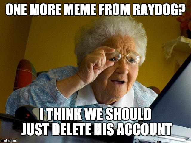 Grandma Finds The Internet Meme | ONE MORE MEME FROM RAYDOG? I THINK WE SHOULD JUST DELETE HIS ACCOUNT | image tagged in memes,grandma finds the internet | made w/ Imgflip meme maker