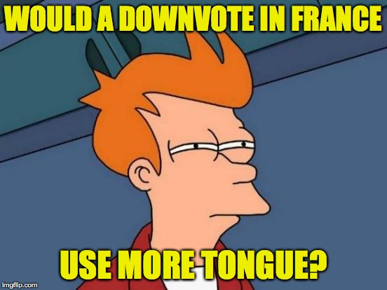 Futurama Fry Meme | WOULD A DOWNVOTE IN FRANCE USE MORE TONGUE? | image tagged in memes,futurama fry | made w/ Imgflip meme maker
