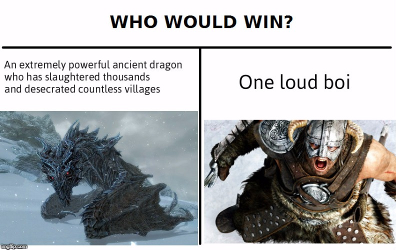 image tagged in memes,who would win,skyrim,video games | made w/ Imgflip meme maker