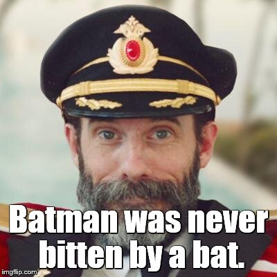 captain obvious | Batman was never bitten by a bat. | image tagged in captain obvious | made w/ Imgflip meme maker