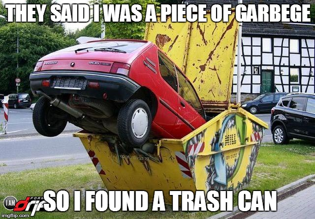 THEY SAID I WAS A PIECE OF GARBEGE SO I FOUND A TRASH CAN | image tagged in funny car crash | made w/ Imgflip meme maker