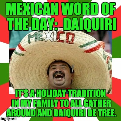 MEXICAN WORD OF THE DAY:  DAIQUIRI; IT'S A HOLIDAY TRADITION IN MY FAMILY TO ALL GATHER AROUND AND DAIQUIRI DE TREE. | image tagged in mexican word of the day | made w/ Imgflip meme maker