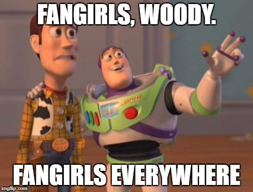 My reaction to everyone on the Internet: | FANGIRLS, WOODY. FANGIRLS EVERYWHERE | image tagged in memes,x,x everywhere,x x everywhere | made w/ Imgflip meme maker