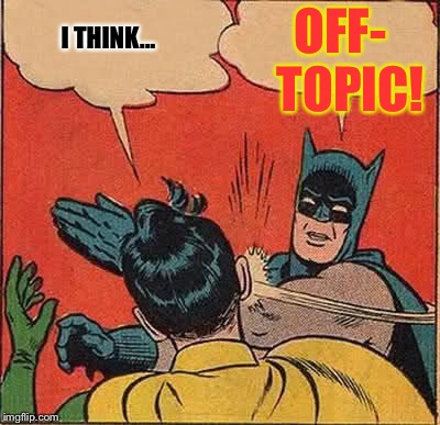 Batman Slapping Robin Meme | I THINK... OFF-  TOPIC! | image tagged in memes,batman slapping robin,off-topic,the topic police | made w/ Imgflip meme maker