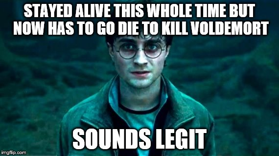 STAYED ALIVE THIS WHOLE TIME BUT NOW HAS TO GO DIE TO KILL VOLDEMORT SOUNDS LEGIT | image tagged in harry potter | made w/ Imgflip meme maker
