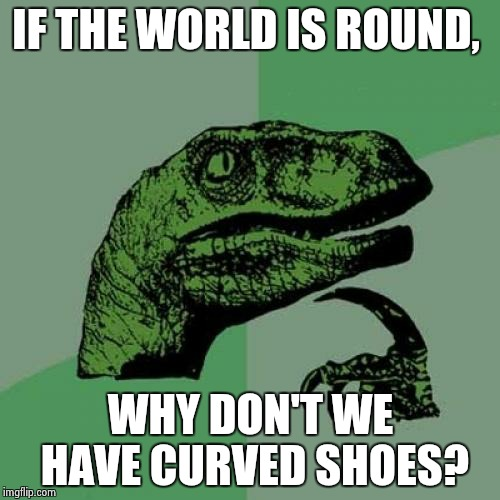 Philosoraptor Meme | IF THE WORLD IS ROUND, WHY DON'T WE HAVE CURVED SHOES? | image tagged in memes,philosoraptor | made w/ Imgflip meme maker