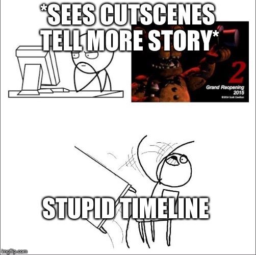 When I found out fnaf 2 was a prequel | *SEES CUTSCENES TELL MORE STORY* STUPID TIMELINE | image tagged in when i found out fnaf 2 was a prequel | made w/ Imgflip meme maker