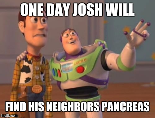 X, X Everywhere Meme | ONE DAY JOSH WILL FIND HIS NEIGHBORS PANCREAS | image tagged in memes,x,x everywhere,x x everywhere | made w/ Imgflip meme maker