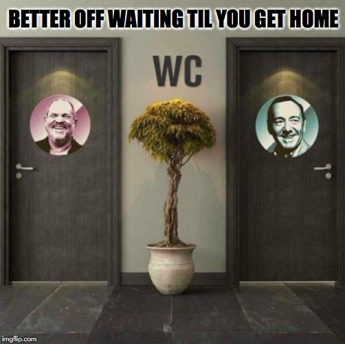 Lurking Turds | BETTER OFF WAITING TIL YOU GET HOME | image tagged in toilet humor,kevin spacey,harvey weinstein | made w/ Imgflip meme maker
