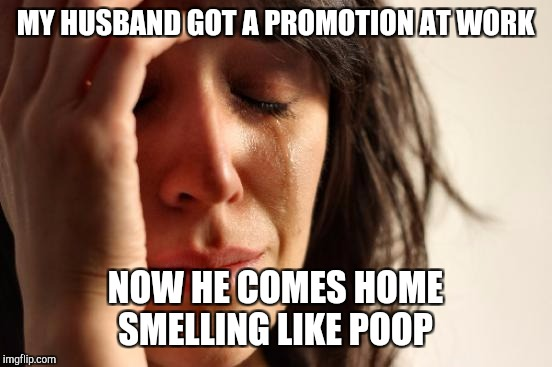 First World Problems Meme | MY HUSBAND GOT A PROMOTION AT WORK NOW HE COMES HOME SMELLING LIKE POOP | image tagged in memes,first world problems | made w/ Imgflip meme maker