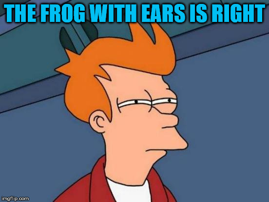 Futurama Fry Meme | THE FROG WITH EARS IS RIGHT | image tagged in memes,futurama fry | made w/ Imgflip meme maker