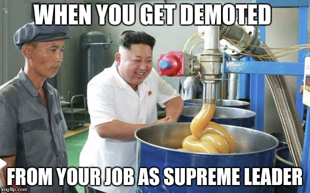 Kim Jong Un the supreme leader got demoted | WHEN YOU GET DEMOTED FROM YOUR JOB AS SUPREME LEADER | image tagged in kim jong un lubw | made w/ Imgflip meme maker