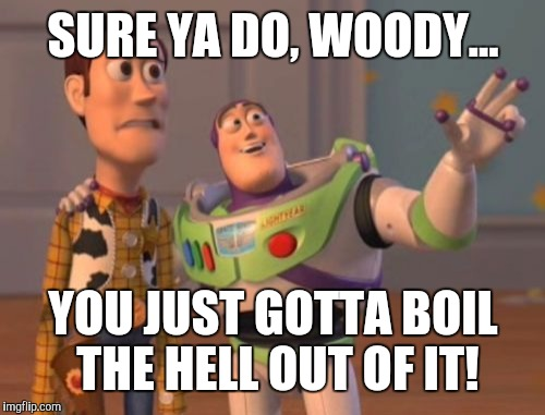 X, X Everywhere Meme | SURE YA DO, WOODY... YOU JUST GOTTA BOIL THE HELL OUT OF IT! | image tagged in memes,x,x everywhere,x x everywhere | made w/ Imgflip meme maker