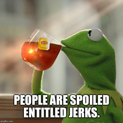But Thats None Of My Business Meme | PEOPLE ARE SPOILED ENTITLED JERKS. | image tagged in memes,but thats none of my business,kermit the frog | made w/ Imgflip meme maker