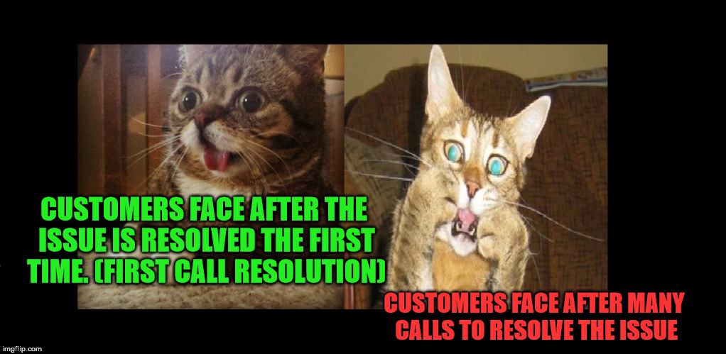 CUSTOMERS FACE AFTER THE ISSUE IS RESOLVED THE FIRST TIME. (FIRST CALL RESOLUTION) CUSTOMERS FACE AFTER MANY CALLS TO RESOLVE THE ISSUE | image tagged in cat faced | made w/ Imgflip meme maker