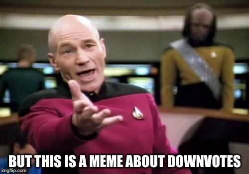 Picard Wtf Meme | BUT THIS IS A MEME ABOUT DOWNVOTES | image tagged in memes,picard wtf | made w/ Imgflip meme maker