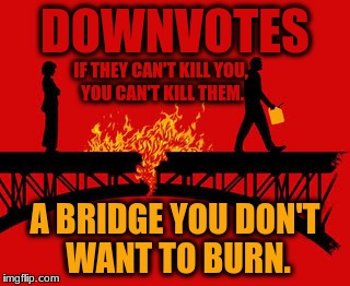 Everything gets upvotes, it's the downvotes that keep the trash in the back pages. | DOWNVOTES A BRIDGE YOU DON'T WANT TO BURN. IF THEY CAN'T KILL YOU, YOU CAN'T KILL THEM. | image tagged in burning bridges,down with downvotes weekend,downvote | made w/ Imgflip meme maker