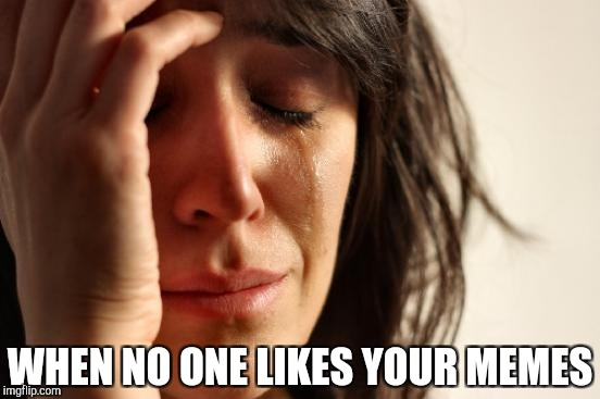 First World Problems Meme | WHEN NO ONE LIKES YOUR MEMES | image tagged in memes,first world problems | made w/ Imgflip meme maker