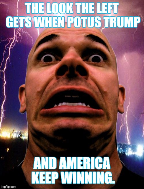 Memeo | THE LOOK THE LEFT GETS WHEN POTUS TRUMP AND AMERICA KEEP WINNING. | image tagged in memes,memeo | made w/ Imgflip meme maker