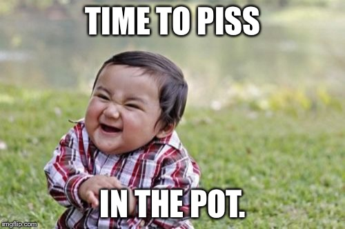 Evil Toddler Meme | TIME TO PISS IN THE POT. | image tagged in memes,evil toddler | made w/ Imgflip meme maker