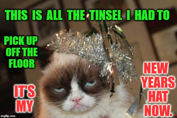 Grumpy Cat New Years | THIS  IS  ALL  THE  TINSEL  I  HAD TO NEW  YEARS  HAT  NOW. PICK UP OFF THE FLOOR IT'S MY | image tagged in grumpy cat new years | made w/ Imgflip meme maker