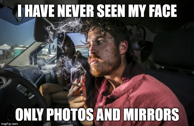 Face it | I HAVE NEVER SEEN MY FACE ONLY PHOTOS AND MIRRORS | image tagged in stoner driving,sudden realization,stupid,memes,face | made w/ Imgflip meme maker