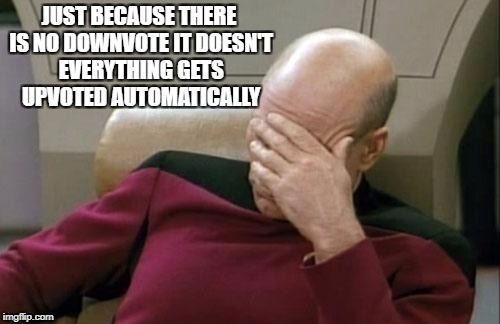 Captain Picard Facepalm Meme | JUST BECAUSE THERE IS NO DOWNVOTE IT DOESN'T EVERYTHING GETS UPVOTED AUTOMATICALLY | image tagged in memes,captain picard facepalm | made w/ Imgflip meme maker