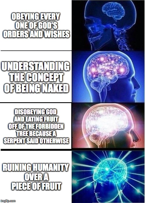 Expanding Brain Meme | OBEYING EVERY ONE OF GOD'S ORDERS AND WISHES UNDERSTANDING THE CONCEPT OF BEING NAKED DISOBEYING GOD AND EATING FRUIT OFF OF THE FORBIDDEN T | image tagged in memes,expanding brain | made w/ Imgflip meme maker