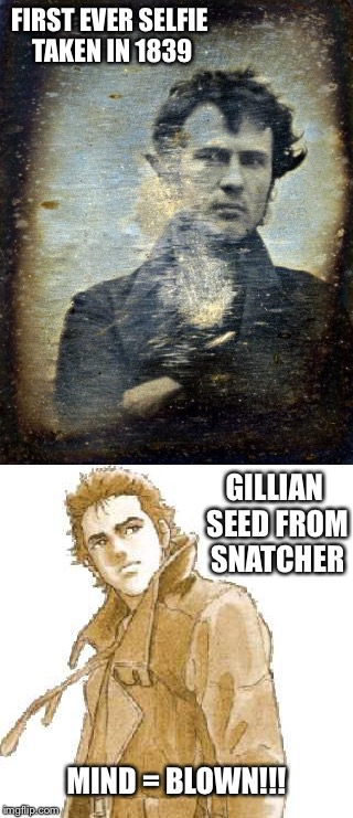 Gillian selfie | FIRST EVER SELFIE TAKEN IN 1839 GILLIAN SEED FROM SNATCHER MIND = BLOWN!!! | image tagged in video games,funny meme | made w/ Imgflip meme maker