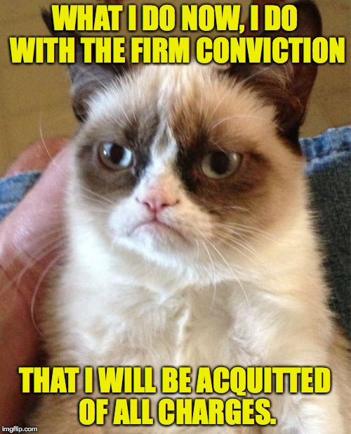 Grumpy Cat Meme | WHAT I DO NOW, I DO WITH THE FIRM CONVICTION THAT I WILL BE ACQUITTED OF ALL CHARGES. | image tagged in memes,grumpy cat | made w/ Imgflip meme maker