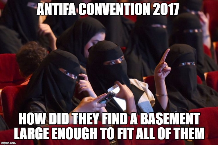 antifa convention | ANTIFA CONVENTION 2017 HOW DID THEY FIND A BASEMENT LARGE ENOUGH TO FIT ALL OF THEM | image tagged in antifa,idiots | made w/ Imgflip meme maker
