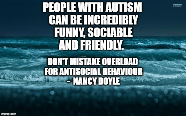 Don't mistake overload for antisocial behaviour | PEOPLE WITH AUTISM CAN BE INCREDIBLY FUNNY, SOCIABLE AND FRIENDLY. DON'T MISTAKE OVERLOAD FOR ANTISOCIAL BEHAVIOUR  -  NANCY DOYLE | image tagged in autism,overload | made w/ Imgflip meme maker