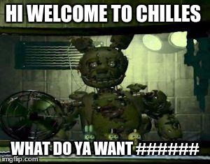 FNAF Springtrap in window | HI WELCOME TO CHILLES WHAT DO YA WANT ###### | image tagged in fnaf springtrap in window | made w/ Imgflip meme maker
