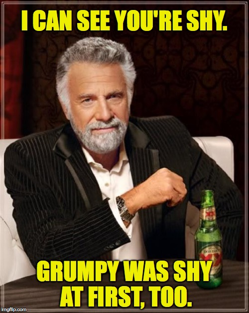 The Most Interesting Man In The World Meme | I CAN SEE YOU'RE SHY. GRUMPY WAS SHY AT FIRST, TOO. | image tagged in memes,the most interesting man in the world | made w/ Imgflip meme maker