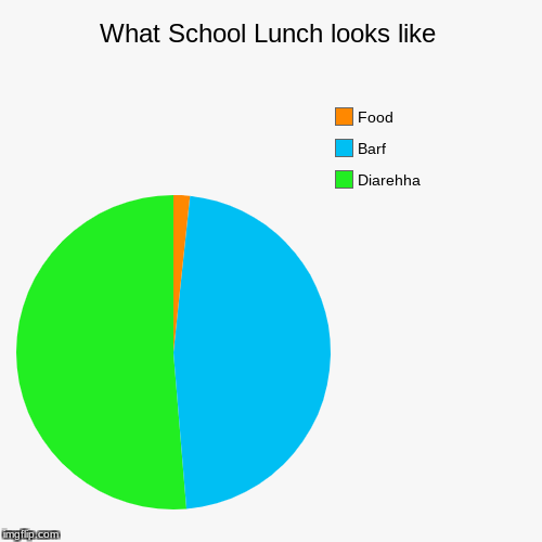What School Lunch looks like | Diarehha, Barf, Food | image tagged in funny,pie charts | made w/ Imgflip pie chart maker