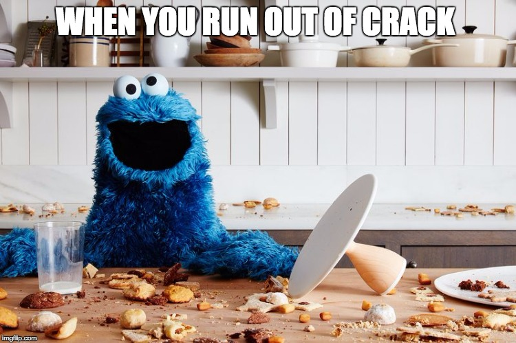 WHEN YOU RUN OUT OF CRACK | image tagged in cookie monster | made w/ Imgflip meme maker