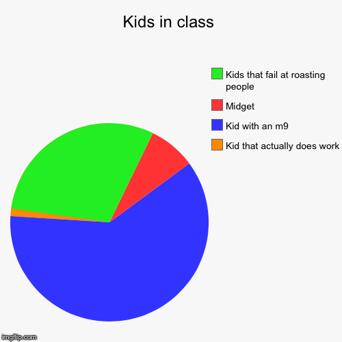 Kids in class | Kid that actually does work, Kid with an m9, Midget, Kids that fail at roasting people | image tagged in funny,pie charts | made w/ Imgflip pie chart maker