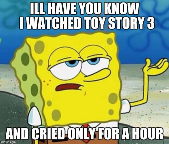 Tough Guy Sponge Bob | ILL HAVE YOU KNOW  I WATCHED TOY STORY 3 AND CRIED ONLY FOR A HOUR | image tagged in tough guy sponge bob | made w/ Imgflip meme maker
