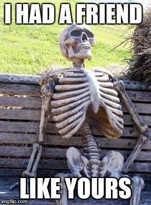 Waiting Skeleton Meme | I HAD A FRIEND LIKE YOURS | image tagged in memes,waiting skeleton | made w/ Imgflip meme maker