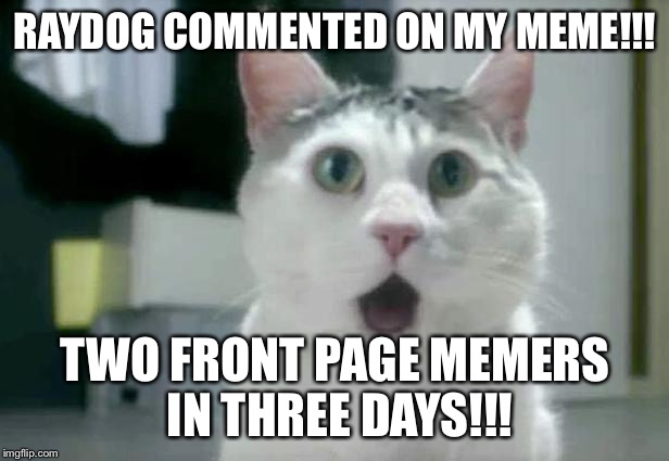 OMG Cat | RAYDOG COMMENTED ON MY MEME!!! TWO FRONT PAGE MEMERS IN THREE DAYS!!! | image tagged in memes,omg cat,omg,raydog,thanks,milestone | made w/ Imgflip meme maker