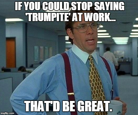 That Would Be Great Meme | IF YOU COULD STOP SAYING 'TRUMPITE' AT WORK... THAT'D BE GREAT. | image tagged in memes,that would be great | made w/ Imgflip meme maker