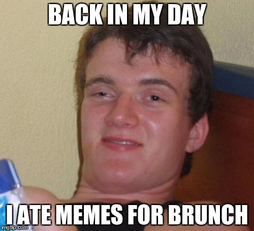 10 Guy Meme | BACK IN MY DAY I ATE MEMES FOR BRUNCH | image tagged in memes,10 guy | made w/ Imgflip meme maker