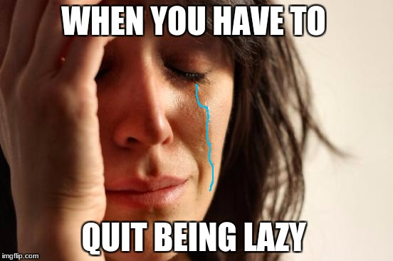 First World Problems Meme | WHEN YOU HAVE TO QUIT BEING LAZY | image tagged in memes,first world problems | made w/ Imgflip meme maker