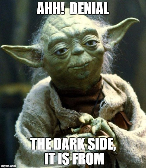 Star Wars Yoda Meme | AHH!  DENIAL THE DARK SIDE, IT IS FROM | image tagged in memes,star wars yoda | made w/ Imgflip meme maker