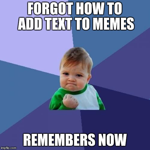 Success Kid Meme | FORGOT HOW TO ADD TEXT TO MEMES REMEMBERS NOW | image tagged in memes,success kid | made w/ Imgflip meme maker